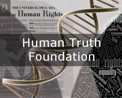 Human Truth Foundation 2019 Icon; a collage of science and human rights words
