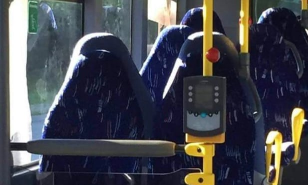 Bus seats were mistaken for Burkhas by racists