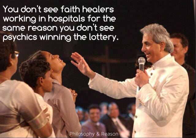 You do not get faith healers working in hospitals for the same reason you do not get psychics winning millions in casinos or by playing poker